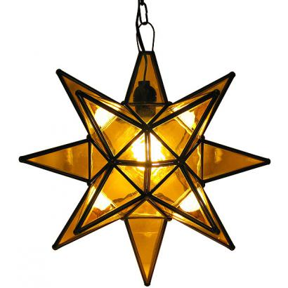Mexican Tin Lighting Collection Amber Glass Star Lamc13