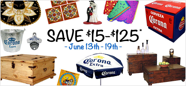 Save $15-$125 at La Fuente Imports on select orders, June 13-19th.