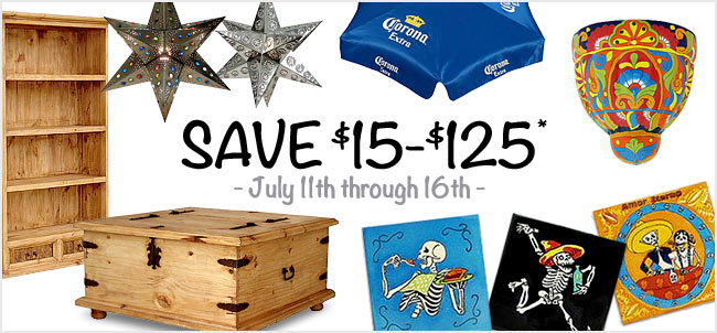 Save $15-$125 at La Fuente Imports on select orders, July 11th through 16th.