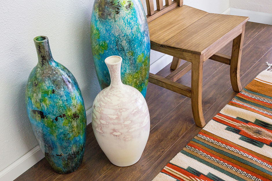 Decorating with Rustic Pine and Decorative Pottery