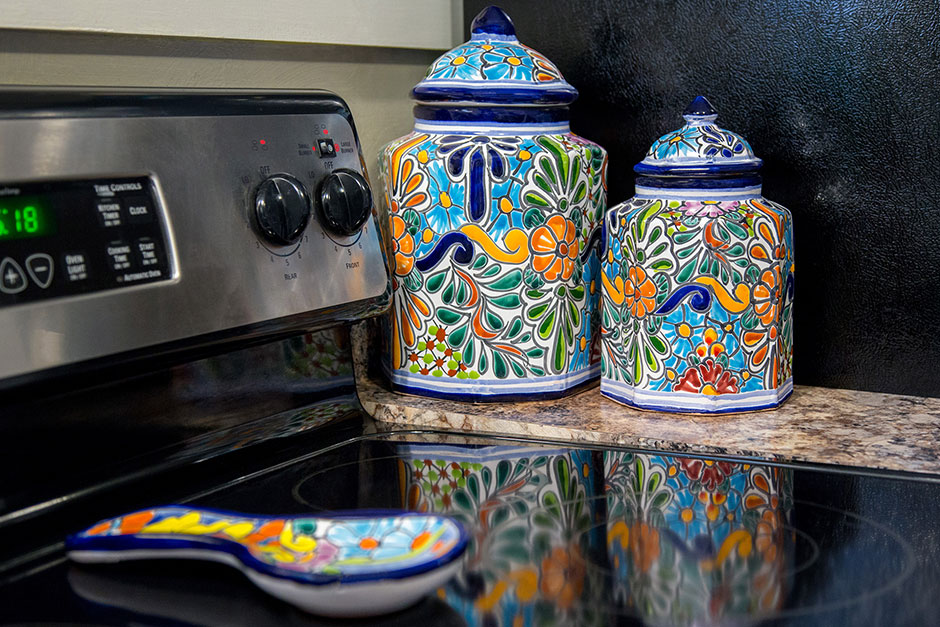 Talavera Kitchen Canisters and Spoon Rest