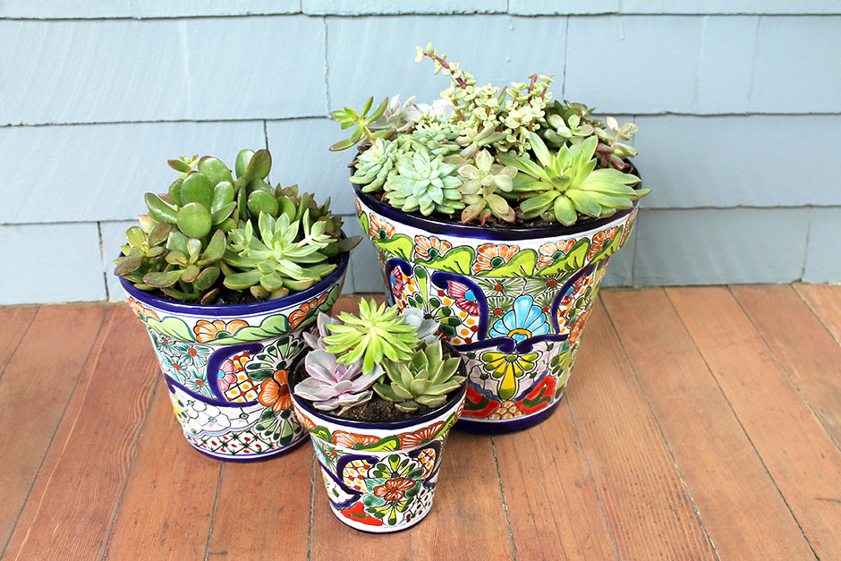 Talavera Planters on Porch