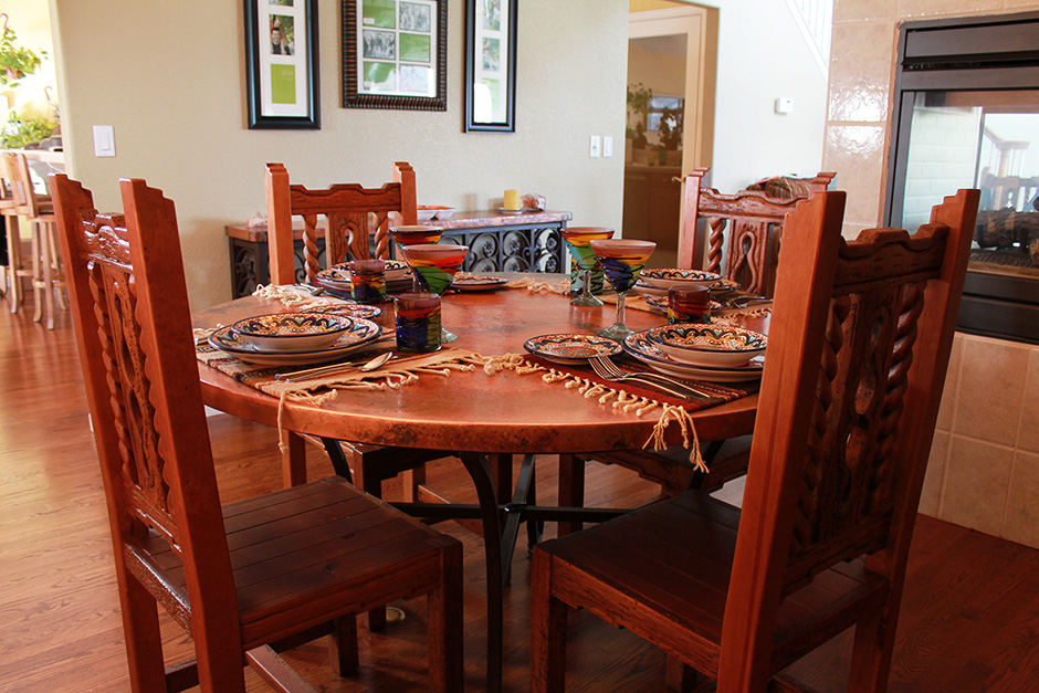 Copper Dinning Table and Chairs