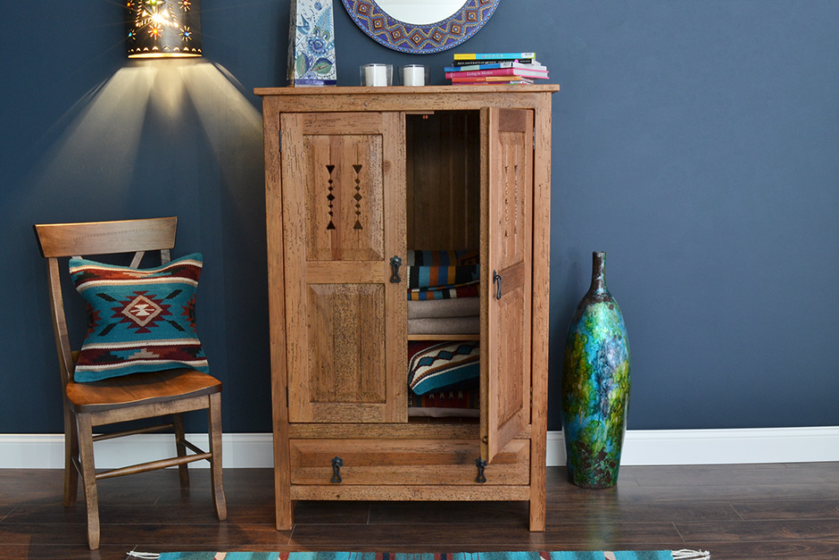 Natural Brown Southwest Armoire
