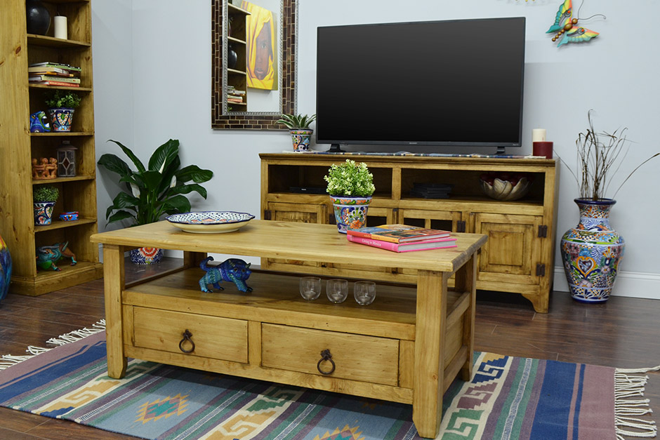 Rustic Pine Coffee Table & TV Stand