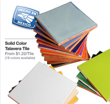 Solid Color Talavera Tile - From $1.22/Tile (18 colors available)