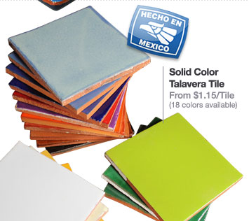 Solid Color Talavera Tile From $1.15/Tile (18 colors available)