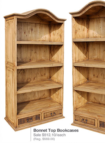 Rustic Pine Collection Bonnet Top Bookcase