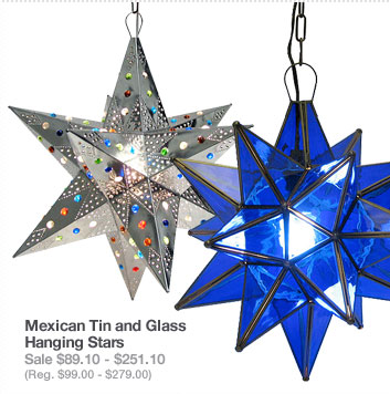 Mexican Tin and Glass Hanging Stars