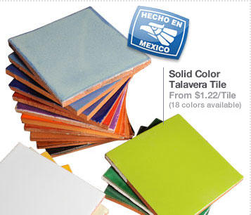 Solid Color Talavera Tile From $1.22/Tile (18 colors available)