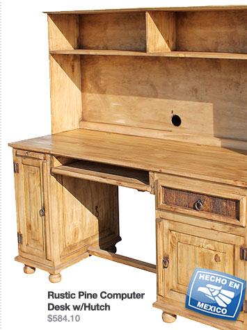 Rustic Pine Computer Desk w/Hutch $584.10