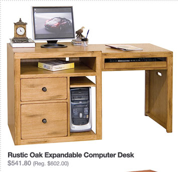 Rustic Oak Expandable Computer Desk $541.80