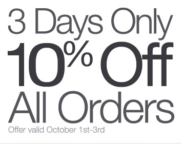 3 Days Only: Save 10% on All Orders through Thursday
