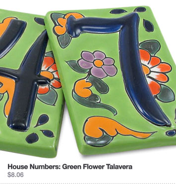 House Numbers: Green Flower Talavera