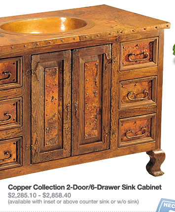 Copper Collection 2-Door/6-Drawer Sink Cabinet