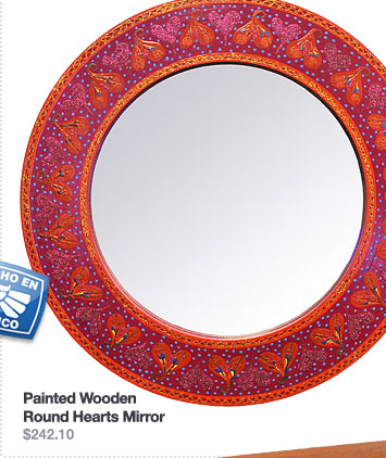 Painted Wooden Round Hearts Mirror