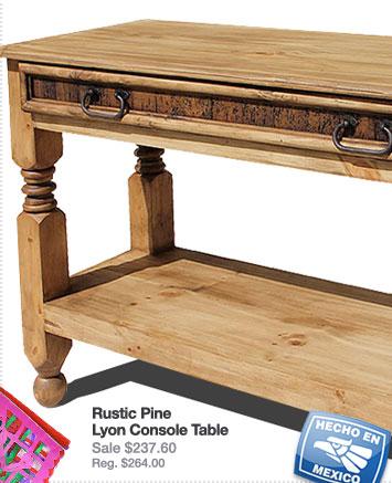 Rustic Pine Collection Lyon Console Table