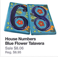 House Numbers: Blue Flower Talavera