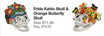 Frida Kahlo Skull & Orange Butterfly Skull