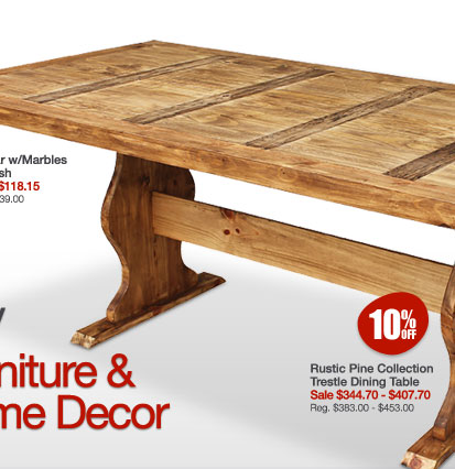 Rustic Pine Collection Trestle Dining Table - 10% Off All Furniture