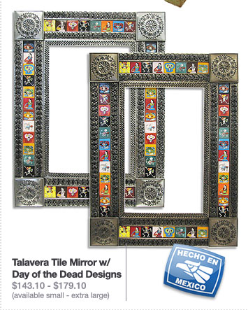 Talavera Tile Mirror w/ Day of the Dead Designs $143.10 - $179.10 (available small - extra large)