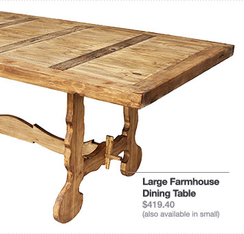 Large Farmhouse Dining Table $419.40 (also available in small)