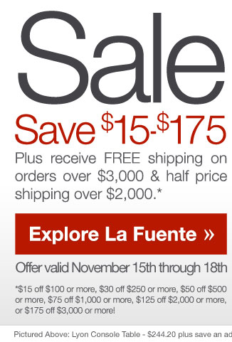 Save up to $175 at La Fuente - November 15th through 18th