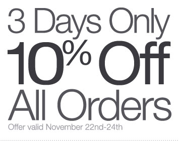 3 Days Only: Save 10% on All Orders through Sunday