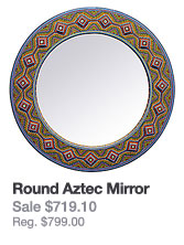 Painted Wooden Mirror: Round Aztec Mirror