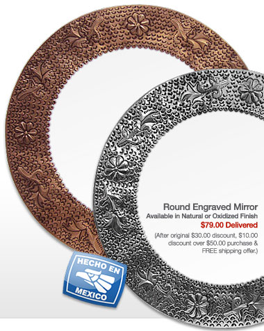Round Engraved Mirror - $79.00 Delivered