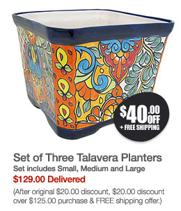 Set of Three Talavera Planters