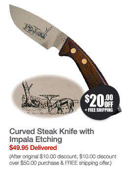 Curved Steak Knife with Impala Etching