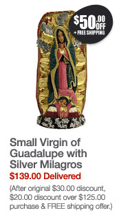 Small Virgin of Guadalupe with Silver Milagros