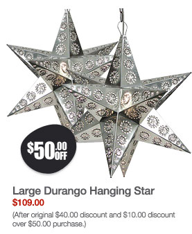 Large Durango Hanging Star: Natural Finish