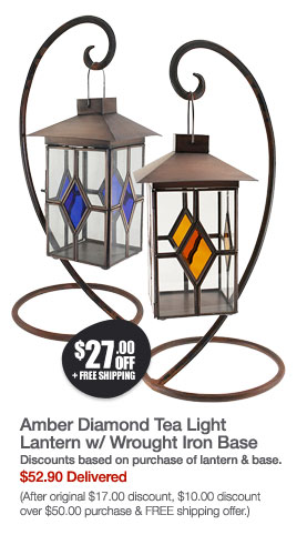 Amber Diamond Tea Light Lantern w/ Wrought Iron Base