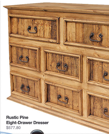 Rustic Pine Collection Eight-Drawer Dresser