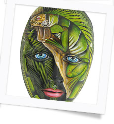 Hand-Painted Ceramic Jungle Mask