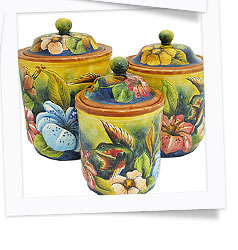 Round Hummingbird Kitchen Canisters