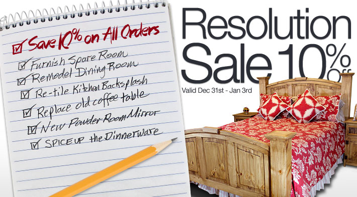 Resolution Sale: Save 10% on All Orders through January 3rd