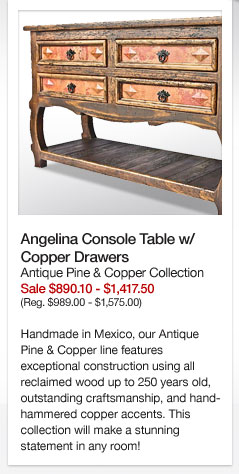 Angelina Console Table w/ Copper Drawers