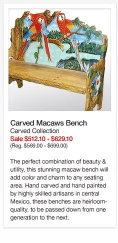 Carved Macaws Bench