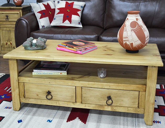 Living Room Essentials - Kick your feet up on one of our hand-crafted Rustic Pine coffee tables and relax in southwestern style with a cup of hot cocoa! Ideal for any rustic or southwestern decor.