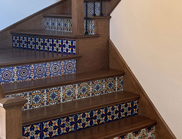 Accentuate Your Stairway - Enhance your stairway with our beautiful handcrafted Talavera tiles! Mix and match patterns to create a unique Mexican look that is sure to impress.