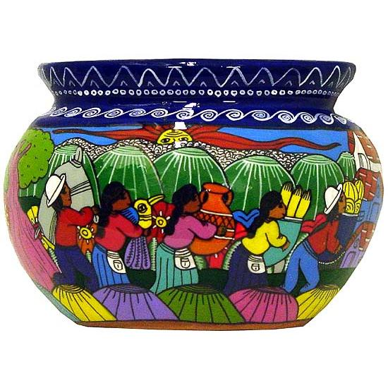 Hand Painted Clay Barro Amate Wall Planter