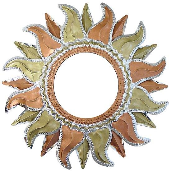 Painted Tin Mirrors Collection Flaming Sun Mirror Pmir275