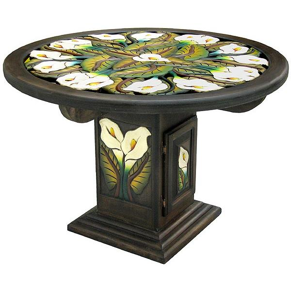 Round Calla Carved Dining Table Product Photo