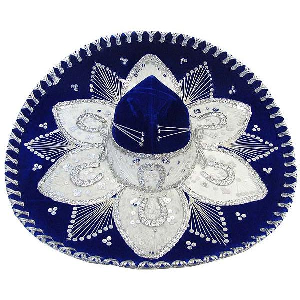 Large Blue & Silver Sombrero