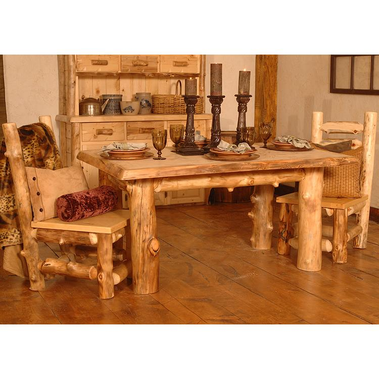 Rustic Aspen Log Large Summit Peak Table