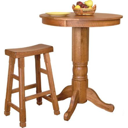Rustic Oak Tall Saddle Seat Stool