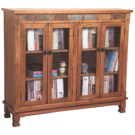 Rustic Oak & Slate Bookcase Console with Doors